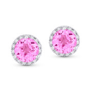 1.96ct Round Brilliant Cut Lab-Created Pink Sapphire & Diamond Halo Martini Stud Earrings in 14k White Gold