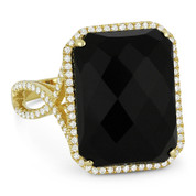 10.85ct Checkerboard Cushion Black Onyx & Round Cut Diamond Pave Cocktail Ring in 14k Yellow Gold