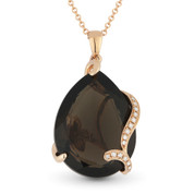 10.85ct Pear-Shaped Smoky Topaz & Round Cut Diamond Pendant & Chain Necklace in 14k Rose Gold