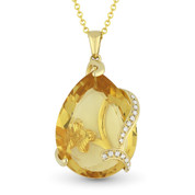 10.99ct Pear-Shaped Citrine & Round Cut Diamond Pendant & Chain Necklace in 14k Yellow Gold