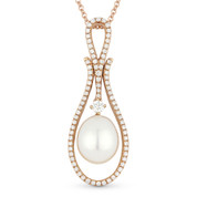 10mm x 8mm Freshwater Pearl & 0.36ct Diamond Pave Pendant & Chain Necklace in 14k Rose Gold