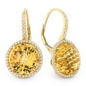 12.10ct Checkerboard Citrine & Round Cut Diamond Halo Leverback Drop Earrings in 14k Yellow Gold