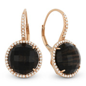 12.91ct Checkerboard Smoky Topaz & Round Cut Diamond Halo Leverback Drop Earrings in 14k Rose Gold