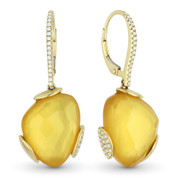 13.13ct Checkerboard Citrine & Round Diamond Dangling Earrings in 14k Yellow Gold