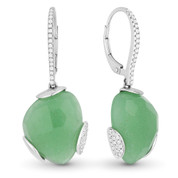 13.13ct Checkerboard Green Aventurine & Round Diamond Dangling Earrings in 14k White Gold
