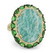 13.88ct Oval Amazonite, Garnet, & Diamond Cocktail Ring in 14k Yellow & Black Gold
