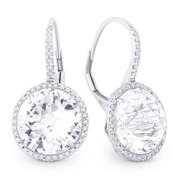 14.15ct Checkerboard White Topaz & Round Cut Diamond Halo Leverback Drop Earrings in 14k White Gold
