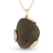 14.23ct Fancy Checkerboard Smoky Topaz & Round Diamond Pave Pendant & Chain Necklace in 14k Rose Gold