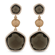 14.31ct Checkerboard Smoky Topaz & Round Cut Diamond Pave Dangling Earrings in 14k Rose Gold