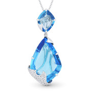 14.32ct Fancy Cut Blue Topaz & Round Diamond Pave Pendant & Chain Necklace in 14k White Gold