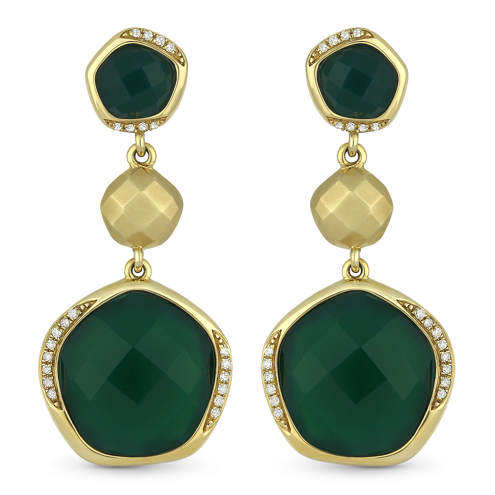 a95ca41046afd 14.63ct Checkerboard Green Agate & Round Cut Diamond Dangling Earrings in  14k Yellow Gold