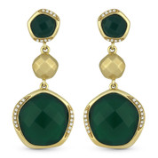 14.63ct Checkerboard Green Agate & Round Cut Diamond Dangling Earrings in 14k Yellow Gold