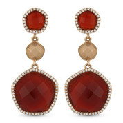 14.78ct Checkerboard Red Agate & Round Cut Diamond Pave Dangling Earrings in 14k Rose Gold