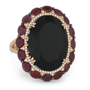 16.10ct Oval Black Onyx, Ruby, & Diamond Cocktail Ring in 14k Rose & Black Gold