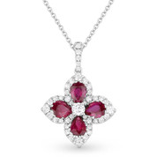 2.00ct Ruby & Diamond Pave Flower Pendant in 18k White Gold w/ 14k Chain Necklace