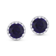 2.00ct Round Brilliant Cut Lab-Created Blue Sapphire & Diamond Halo Martini Stud Earrings in 14k White Gold