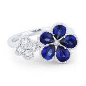 2.04ct Pear-Shaped Sapphire & Round Cut Diamond Cluster Two-Flower Statement Ring in 18k White Gold