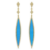 2.06ct Blue Turquoise & Diamond Pave Dangling Long-Marquise Stiletto Earrings in 14k Yellow Gold