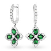 2.12ct Pear-Shaped Emerald & Round Cut Diamond Dangling Flower Earrings in 18k White Gold