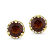 2.12ct Round Brilliant Cut Garnet & Diamond Halo Martini Stud Earrings in 14k Yellow Gold