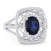 2.13ct Oval Cut Lab-Created Sapphire & Round Diamond Antique-Style Ring in 14k White Gold
