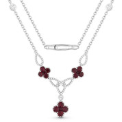 2.13ct Round Brilliant Cut Ruby Cluster & Diamond Pave Flower Charm Statement Necklace in 18k White Gold
