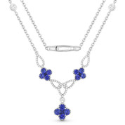 2.03ct Round Brilliant Cut Sapphire Cluster & Diamond Pave Flower Charm Statement Necklace in 18k White Gold