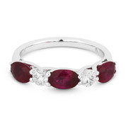 2.14ct Oval Cut Ruby & Round Diamond 5-Stone Anniversary Ring / Wedding Band in 18k White Gold