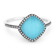 2.20ct Checkerboard Cushion Turquoise / White Topaz Doublet & Round Diamond Cut Halo Ring in 14k White & Black Gold
