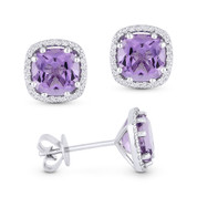 2.21ct Cushion Cut Amethyst & & Round Diamond 8-Prong Square-Halo Stud Earrings in 14k White Gold