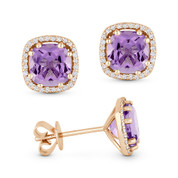 2.25ct Cushion Cut Amethyst & Round Diamond Halo Stud Earrings in 14k Rose Gold