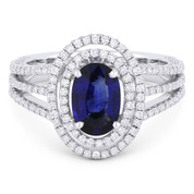 2.26ct Oval Blue Sapphire & Diamond Double-Halo Triple-Band Engagement Ring in 18k White Gold