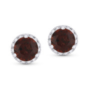 2.30ct Round Brilliant Cut Garnet & Diamond Halo Martini Stud Earrings in 14k White Gold