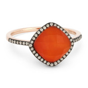 2.38ct Checkerboard Cushion Red Agate / White Topaz Doublet & Round Cut Diamond Halo Ring in 14k Rose & Black Gold