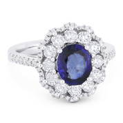 2.39ct Oval Cut Sapphire & Round Brilliant Diamond Pave Right-Hand Cocktail Ring in 18k White Gold