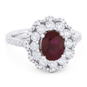 2.54ct Oval Cut Ruby & Round Brilliant Diamond Pave Right-Hand Cocktail Ring in 18k White Gold