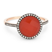 2.61ct Checkerboard Red Agate / White Topaz Doublet & Round Cut Diamond Halo Ring in 14k Rose & Black Gold