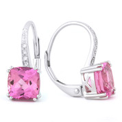 2.65ct Cushion Cut Lab-Created Pink Sapphire & Round Cut Diamond Leverback Drop Earrings in 14k White Gold