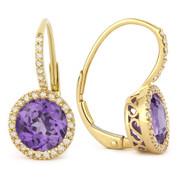 2.68ct Round Brilliant Cut Amethyst & Diamond Leverback Drop Earrings in 14k Yellow Gold