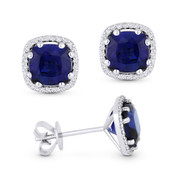 2.72ct Cushion Cut Lab-Created Blue Sapphire & Round Diamond 8-Prong Square-Halo Stud Earrings in 14k White Gold