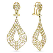 2.81ct Round Cut Diamond Pave & Cluster Drop Statement Earrings in 14k Yellow Gold