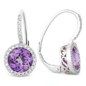 2.91ct Round Brilliant Cut Amethyst & Diamond Leverback Drop Earrings in 14k White Gold