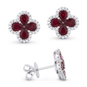 2.99ct Pear-Shaped Ruby Cluster & Round Cut Diamond Pave Flower Stud Earrings in 18k White Gold