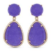 23.60ct Purple Jade & Diamond Halo Dangling Earrings in 14k Rose Gold