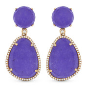 23.60ct Purple Jade & Diamond Halo Dangling Earrings in 14k Rose Gold