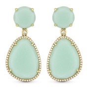 25.45ct Green Aventurine & Diamond Pave Dangling Earrings in 14k Yellow Gold