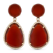 26.61ct Red Agate & Diamond Halo Dangling Earrings in 14k Rose Gold