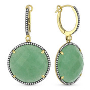 28.14ct Checkerboard Green Aventurine & Round Cut Diamond Halo Dangling Earrings in 14k Yellow Gold