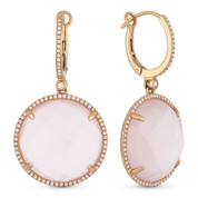 29.70ct Checkerboard Rose Quartz & Round Cut Diamond Halo Dangling Earrings in 14k Rose Gold