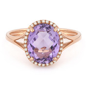 3.00ct Checkerboard Cut Pink Amethyst & Round Diamond Oval Halo Right-Hand Ring in 14k Rose Gold